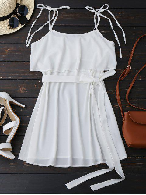 women Ruffles Belted Slip Mini Top - WHITE XL Mobile