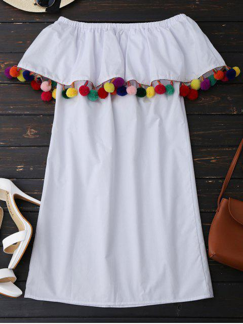 hot Ruffles Off Shoulder Mini Dress with Colorful Balls - WHITE M Mobile