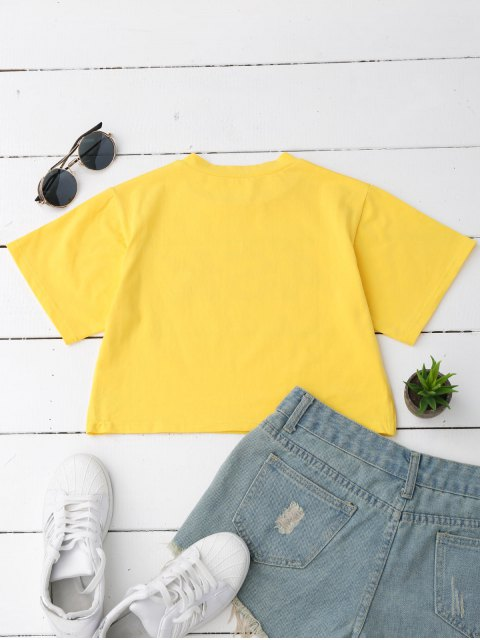 outfits Loose Letter Cropped T-Shirt - YELLOW M Mobile