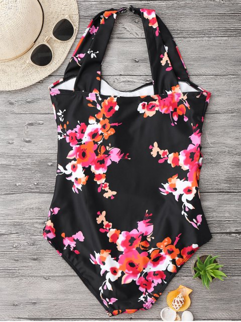 hot Ruched Plus Size Floral Swimwear - BLACK 3XL Mobile