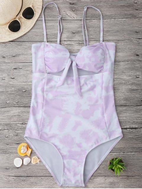 shop Cut Out Tie-Dyed Bowknot Swimwear - LIGHT PURPLE L Mobile