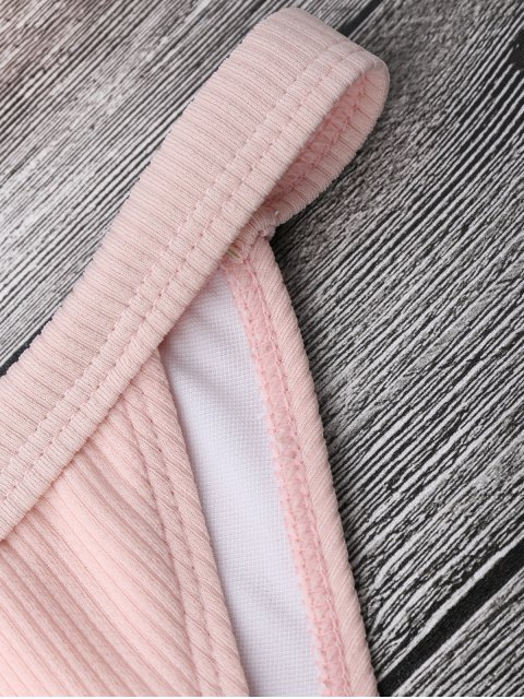 chic Frilled Ribbed String Bralette Bikini Set - PINK S Mobile