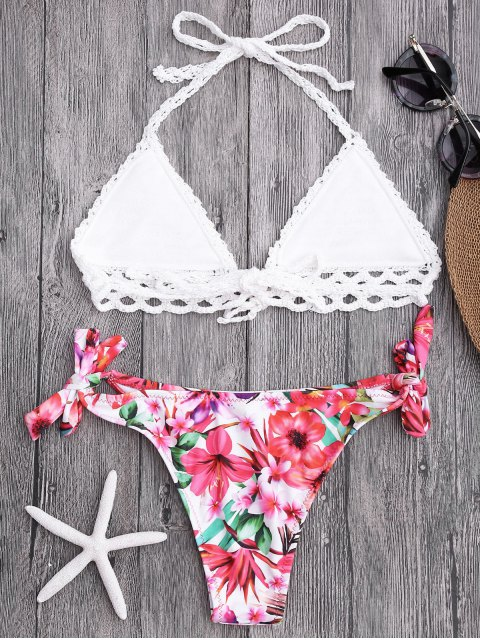 womens Bralette Crochet Top and Floral Tied Bikini Bottoms - WHITE S Mobile