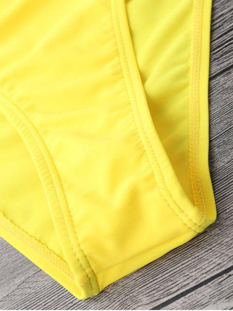 outfits Mid Waisted High Cut Swim Bottoms - YELLOW L Mobile