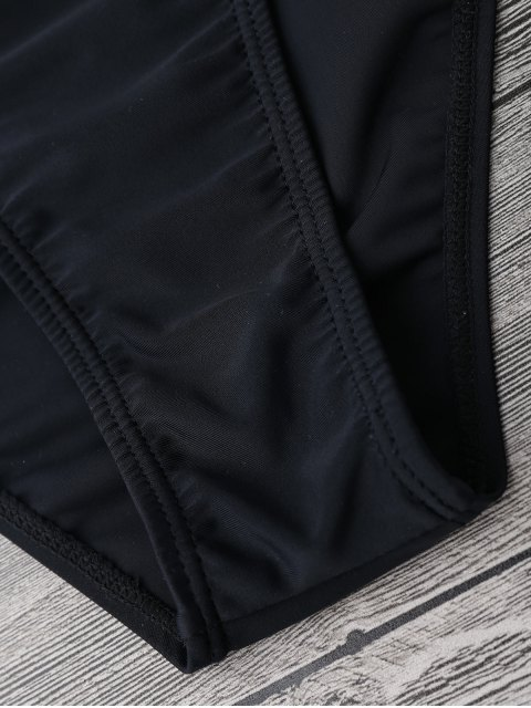 latest Mid Waisted High Cut Swim Bottoms - BLACK L Mobile