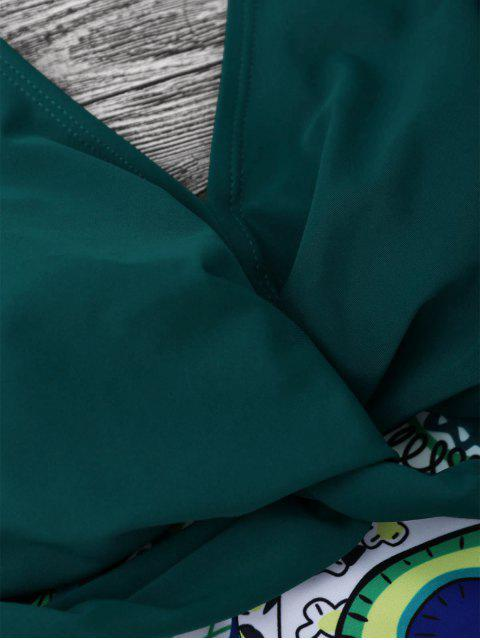 Top de tankini péplum de grande taille avec un détail de tordage et boxers - Vert Foncé 3XL Mobile