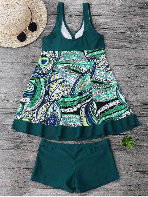 affordable Twist Plus Size Skirted Tankini Top with Boxers - BLACKISH GREEN 2XL Mobile