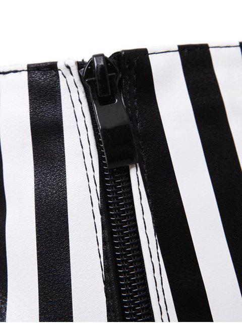 lady Zipper Striped Peep Toe Ankle Boots - BLACK STRIPE 38 Mobile