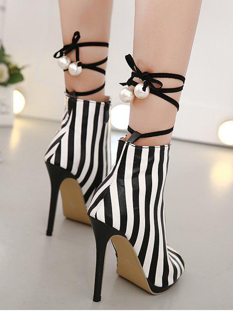 best Zipper Striped Peep Toe Ankle Boots - BLACK STRIPE 39 Mobile