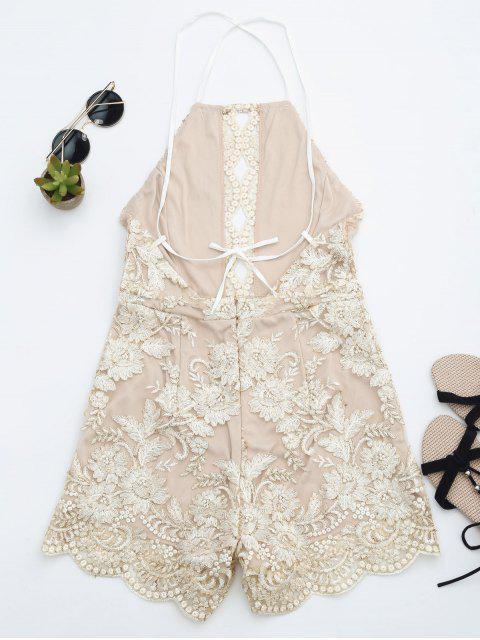 outfit Scalloped Open Back Halter Beach Romper - CHAMPAGNE M Mobile