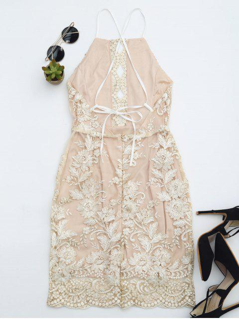 latest Embroidered Bodycon Mini Beach Dress - CHAMPAGNE M Mobile