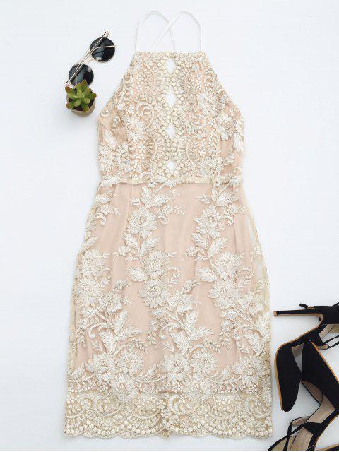 trendy Embroidered Bodycon Mini Beach Dress - CHAMPAGNE S Mobile