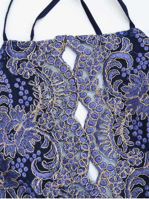 chic Embroidered Bodycon Mini Beach Dress - ROYAL BLUE L Mobile