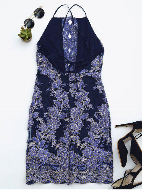 fancy Embroidered Bodycon Mini Beach Dress - ROYAL BLUE M Mobile