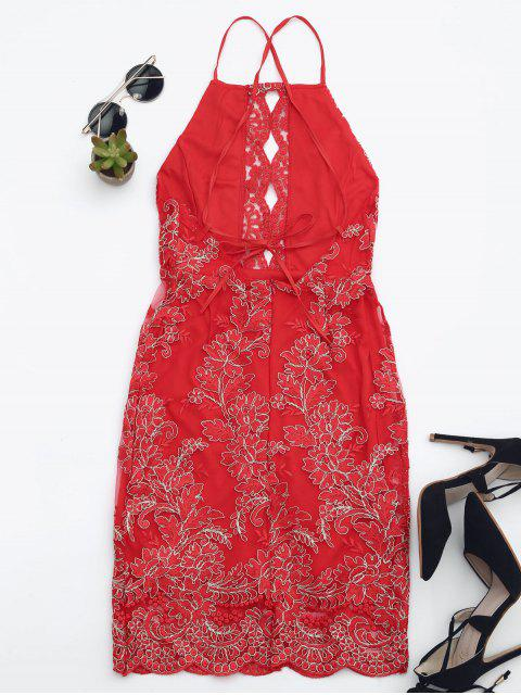 affordable Embroidered Bodycon Mini Beach Dress - RED L Mobile