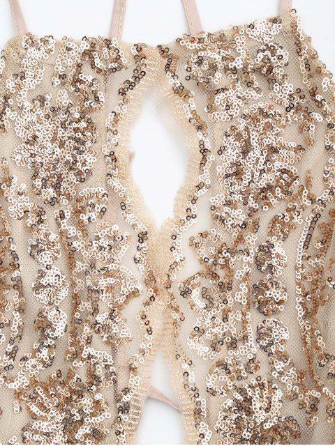 women's Sequins Apron Neck Beach Dress - YELLOWISH PINK L Mobile