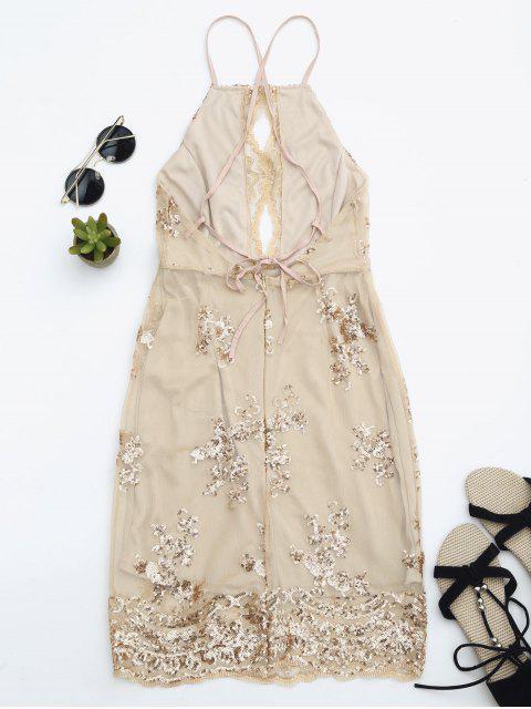 ladies Sequins Apron Neck Beach Dress - YELLOWISH PINK M Mobile