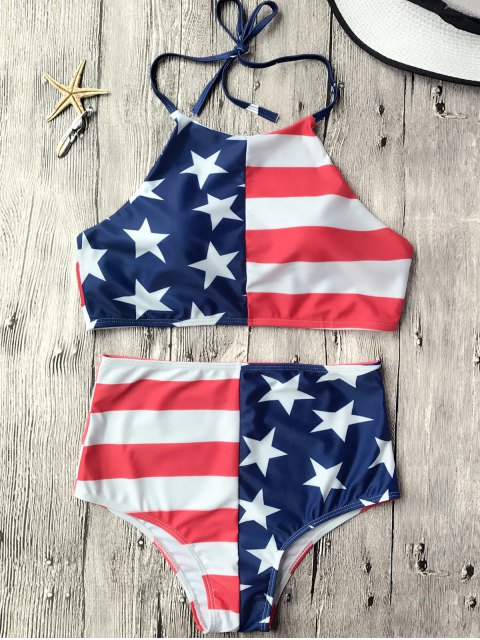 online High Waisted USA Patriotic Bikini Set - US FLAG M Mobile