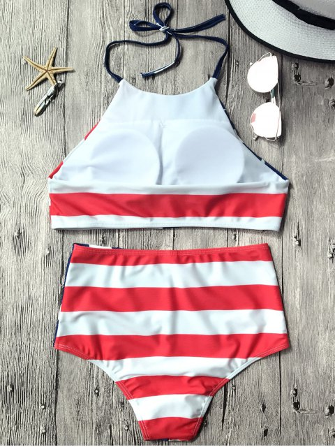 online High Waisted USA Patriotic Bikini Set - US FLAG M Mobile