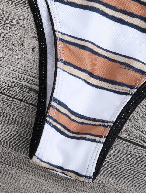 outfits Striped High Cut Scoop Bikini Set - WHITE S Mobile