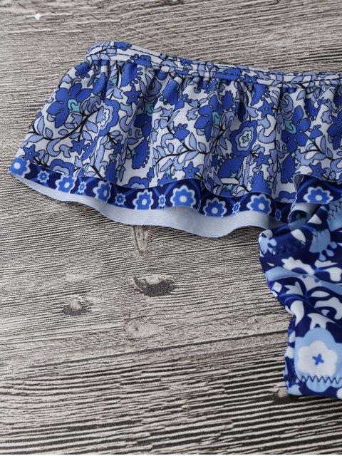 trendy Plus Size Off Shoulder Ruffles Cut Out Swimwear - FLORAL 2XL Mobile
