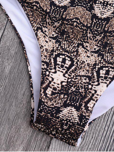 shop Padded Retro Print Wrap Bikini - LIGHT BLUE S Mobile