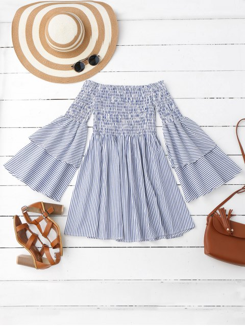 buy Smocked Stripes Off Shoulder Mini Dress - STRIPE M Mobile