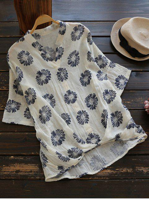womens Sun Floral High Low Linen Blouse - BEIGE ONE SIZE Mobile