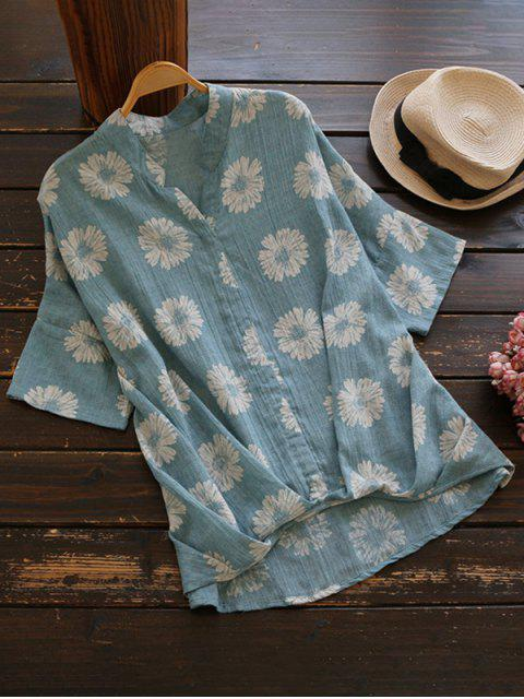 women Sun Floral High Low Linen Blouse - LIGHT BLUE ONE SIZE Mobile