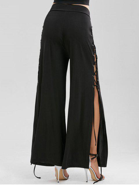 women Side Slit Lace Up Palazzo Pants - BLACK 2XL Mobile