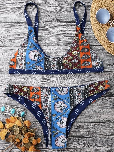 Ensemble Bikini Brassière Imprimée à Encolure Dégagée - Bleu S Mobile
