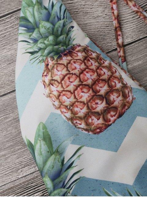 unique Cross Back Pineapple High Cut Swimwear - COLORMIX S Mobile