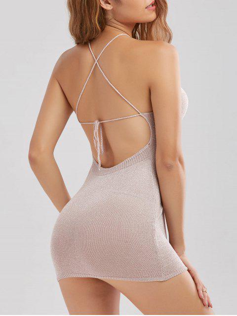 mini vestido fino sin espalda cruzado costura - Rosado Claro Única Talla Mobile