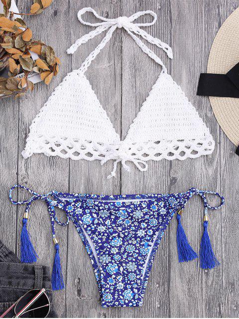womens Lined Tiny Floral Crochet String Bikini - WHITE S Mobile