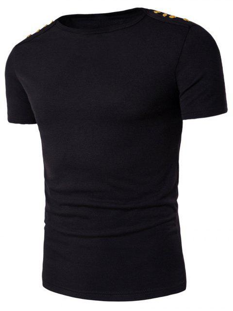 T-shirt embellecido botón hombros cuello de barco - Negro 2XL Mobile