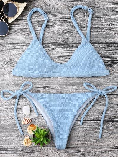 Textured Tie Side String Scoop Bikini Set - Light Blue S