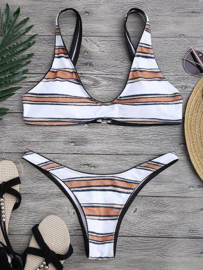 Striped High Cut Scoop Bikini Set - White S
