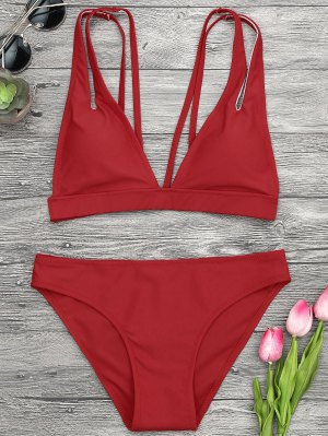 Plunge Strappy Bikini Set - Red M