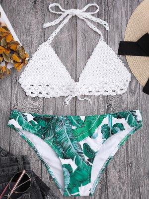 Bikini à Top En Crochet Et à Bas Imprimé De Palmier - Blanc M