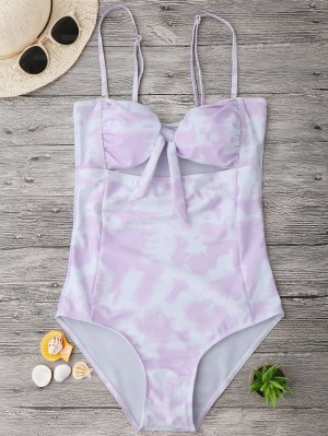 Cut Out Tie-Dyed Bowknot Swimwear - Light Purple S