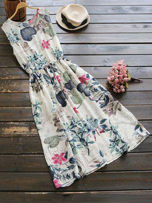 Sleeveless Drawstring Floral Midi Dress