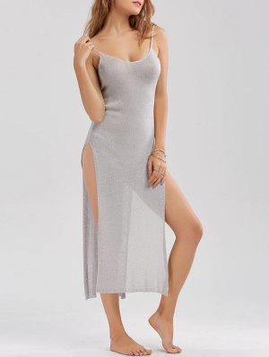 Knitted Sheer High Slit Midi Dress