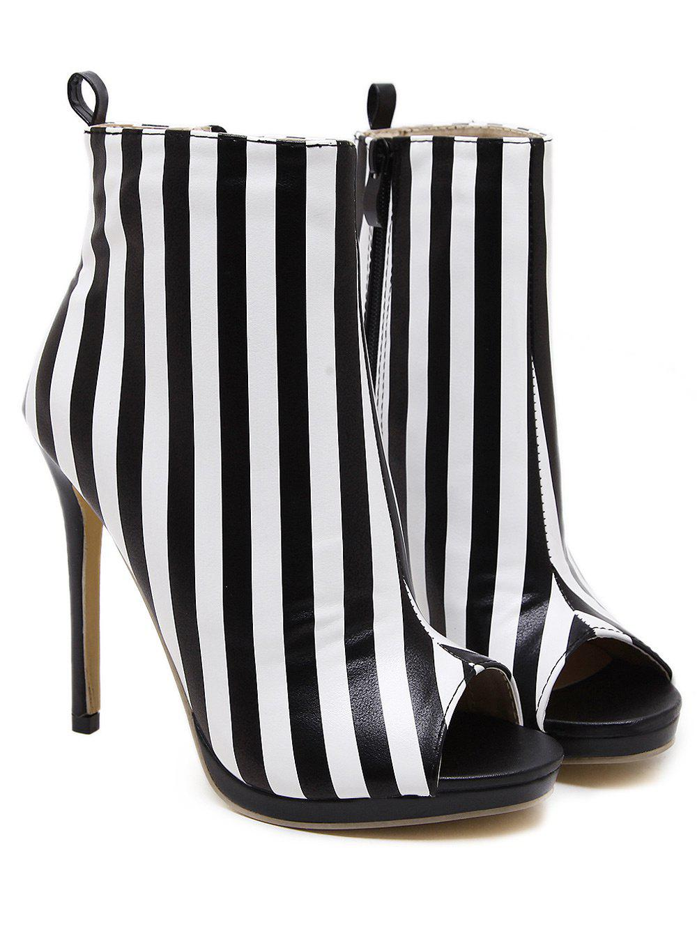 Zipper Striped Peep Toe Ankle Boots 214801303