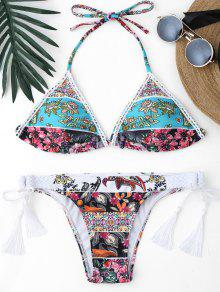 Retro Floral Thong Braided String Bikini - Floral