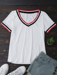 V Neck Stripes Panel Top - White S
