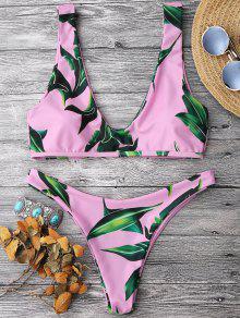 Leaf Print Pullover Scoop Bikini Set - Pink M