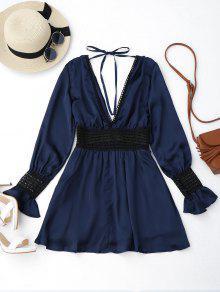 Flare Sleeve Crochet Panel Mini Dress - Purplish Blue S