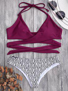 Padded Wrap Snakeskin Print Bikini - Burgundy M