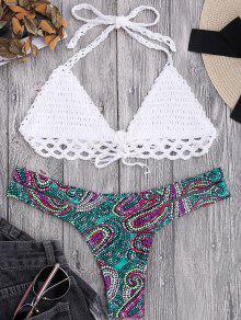 Bikini Brassière En Crochet Et Bas Imprimé Cachemire - Blanc S