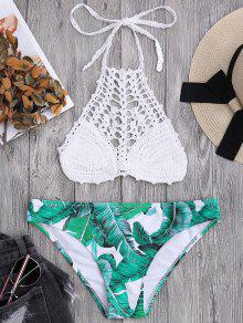 Bralette Crochet Top And Palm Tree Bikini Bottoms - White L